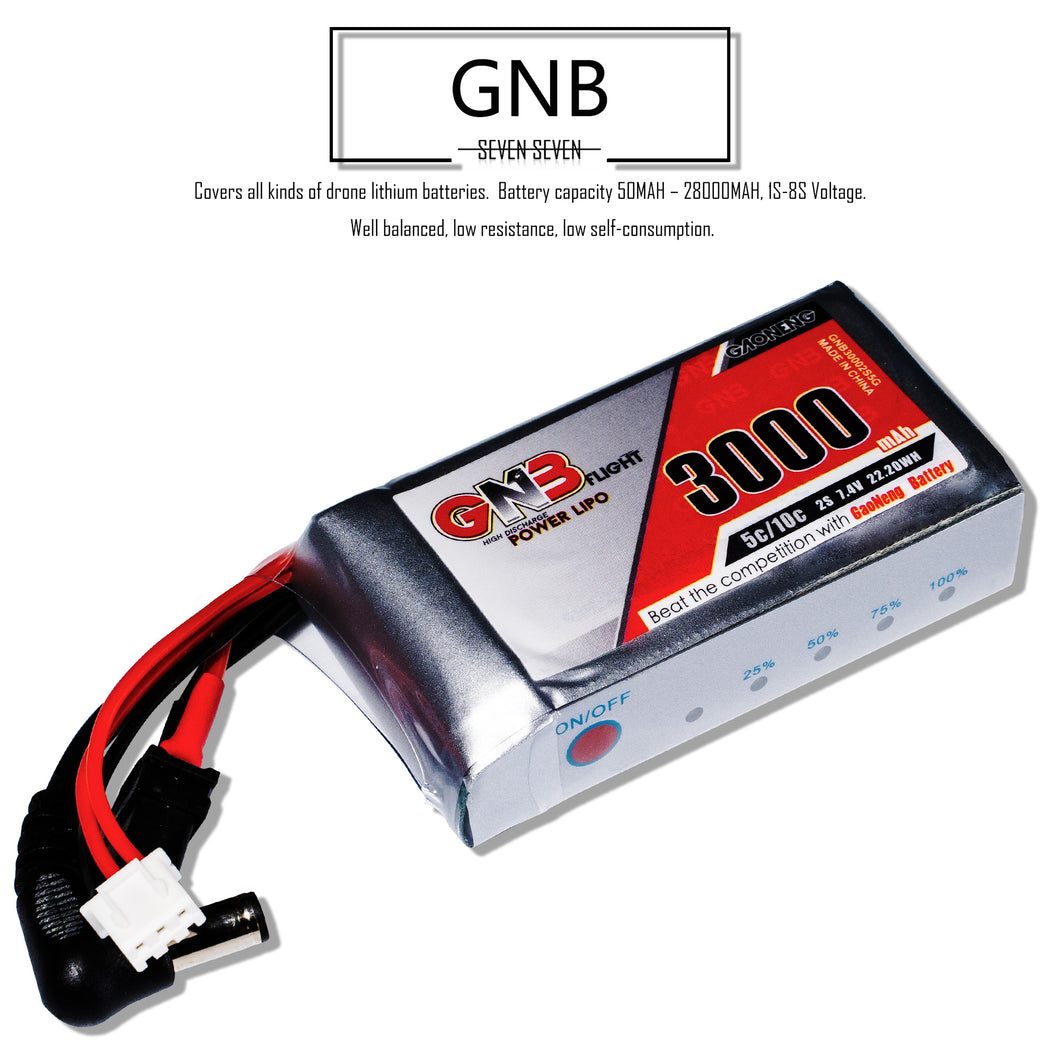 GNB 3000mAh 2s 7.4v 5c for Fatshark HDO DJI Goggles LiPo Battery Pack with XT60 & DC5.5 Plug LED Power Indicator