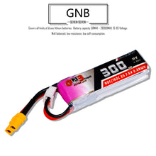 Load image into Gallery viewer, GNB 300mAh 2s 7.6v 80c Lipo Battery with XT30 FPV Plug for RC Racing Drone - 2 Pack