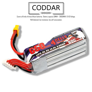 Coddar 650mAh 4s 15.2v 60c Lipo Battery with XT30  FPV plug for RC Racing Drone
