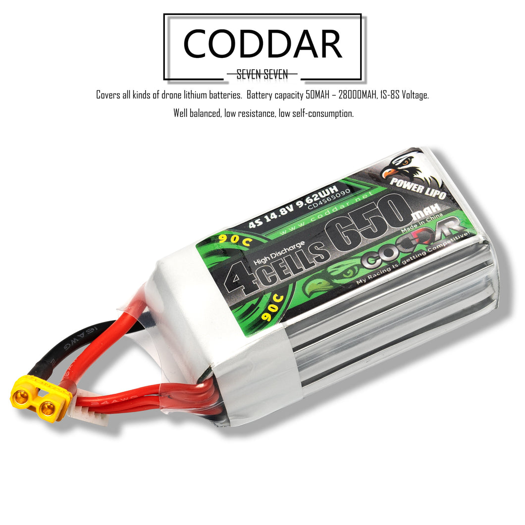 Coddar 650mAh 4s 14.8v 90c Lipo Battery with XT30  FPV plug for RC Racing Drone