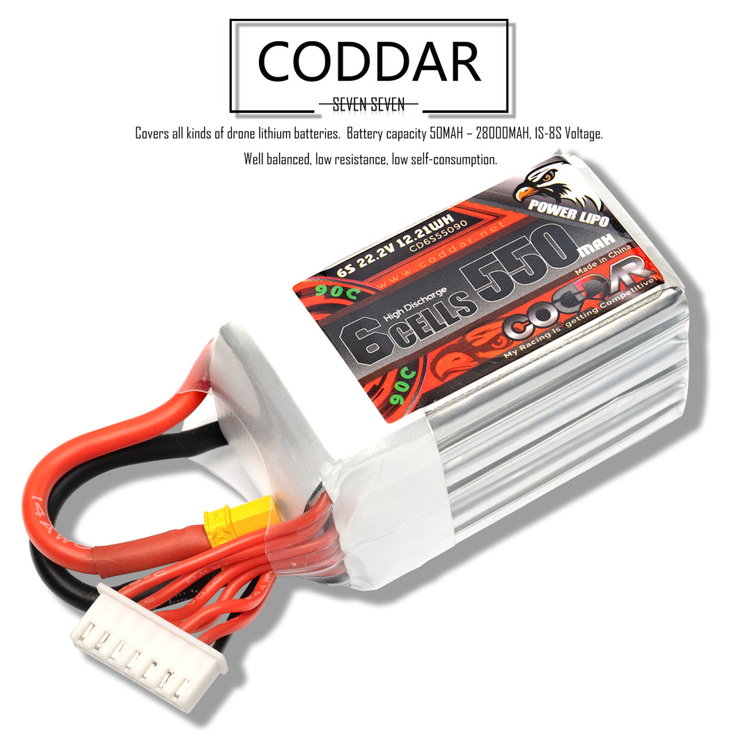 Coddar 550mAh 6s 22.2v 90c Lipo Battery with XT30 FPV plug for RC Racing Drone - 2 Pack