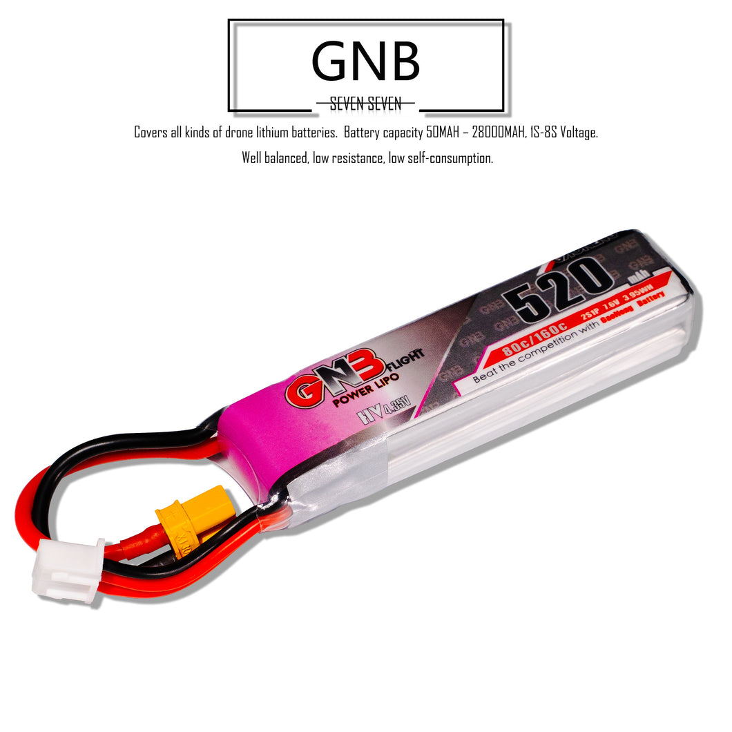 GNB 520mAh 2s 7.6v 80c Lipo Battery with XT30 FPV Plug for RC Racing Drone - 2 Pack