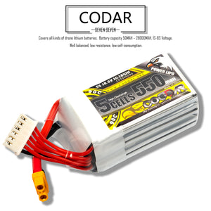 Coddar 550mAh 5s 18.5v 90c Lipo Battery with XT30 FPV plug for RC Racing Drone