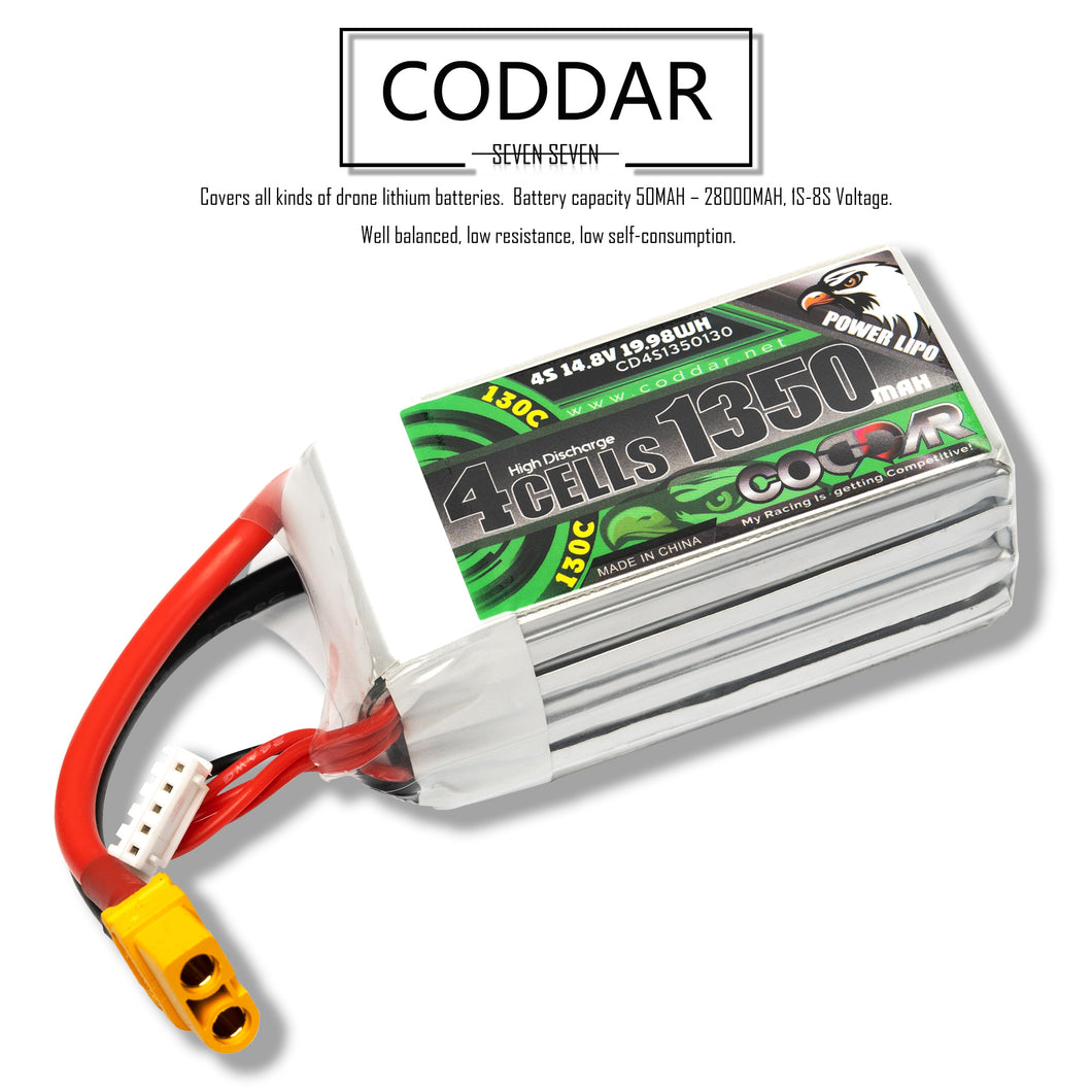 Coddar 1350mAh 4s 14.8v 130c Lipo Battery with XT60  FPV plug for RC Racing Drone