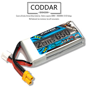 2 Pack - Coddar 650mAh 2s 7.4v 90c Lipo Battery with XT30  FPV plug for RC Racing Drone