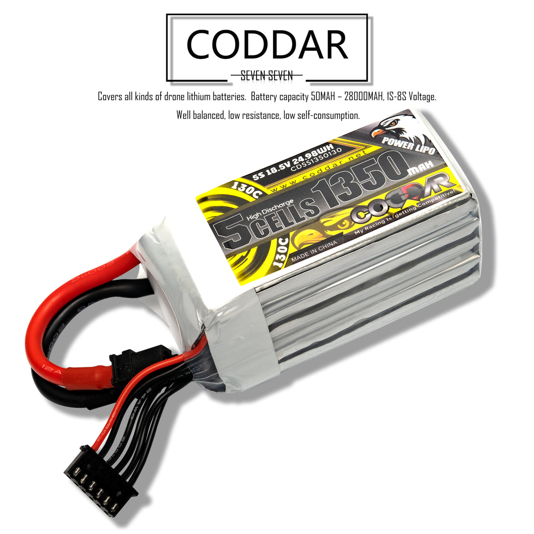 Coddar 1350mAh 5s 18.5v 130c Lipo Battery with XT60  FPV plug for RC Racing Drone