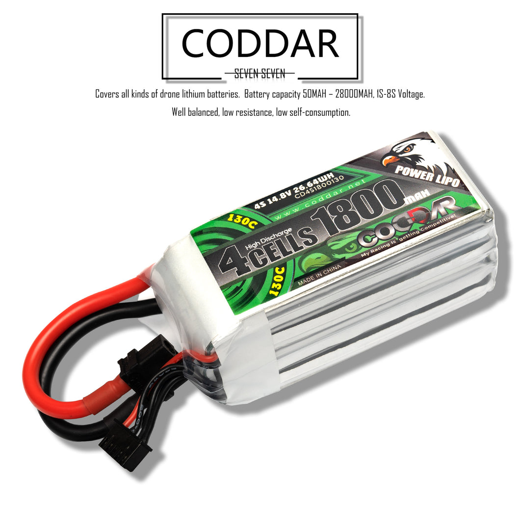 Coddar 1800mAh 4s 14.8v 130c Lipo Battery with XT60 FPV plug for RC Racing Drone