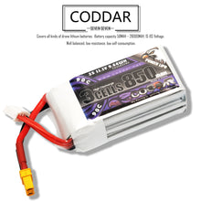 Load image into Gallery viewer, Coddar 850mAh 3s 11.1v 90c Lipo Battery with XT30 FPV plug for RC Racing Drone
