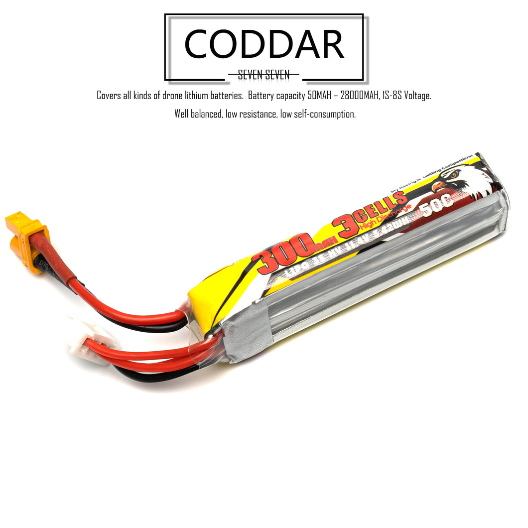 2 pack - Coddar 300mAh 3s 11.4v 50c Lipo Battery with XT30 FPV plug for RC Racing Drone