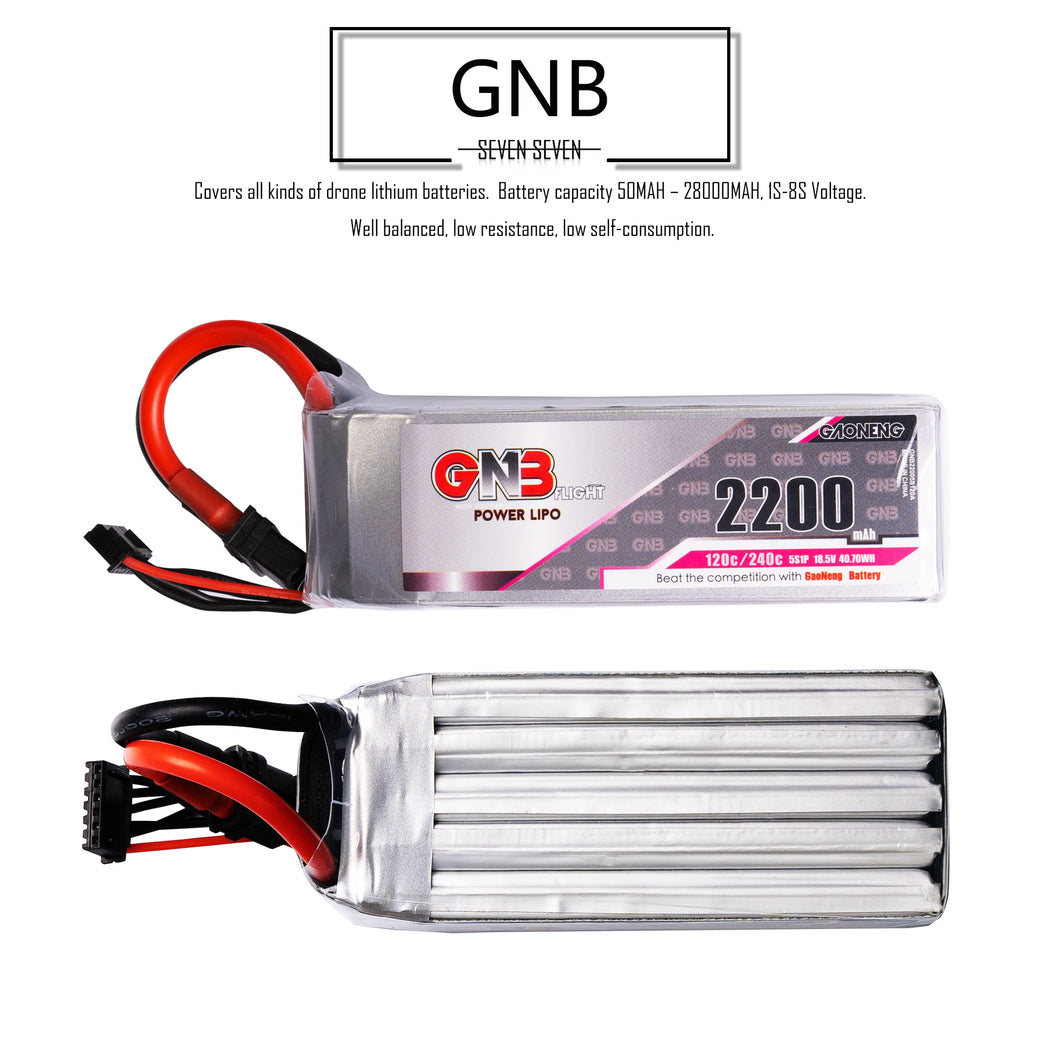 GNB 2200mAh 5s 18.5v 120c Lipo Battery with XT60  FPV plug for RC Racing Drone
