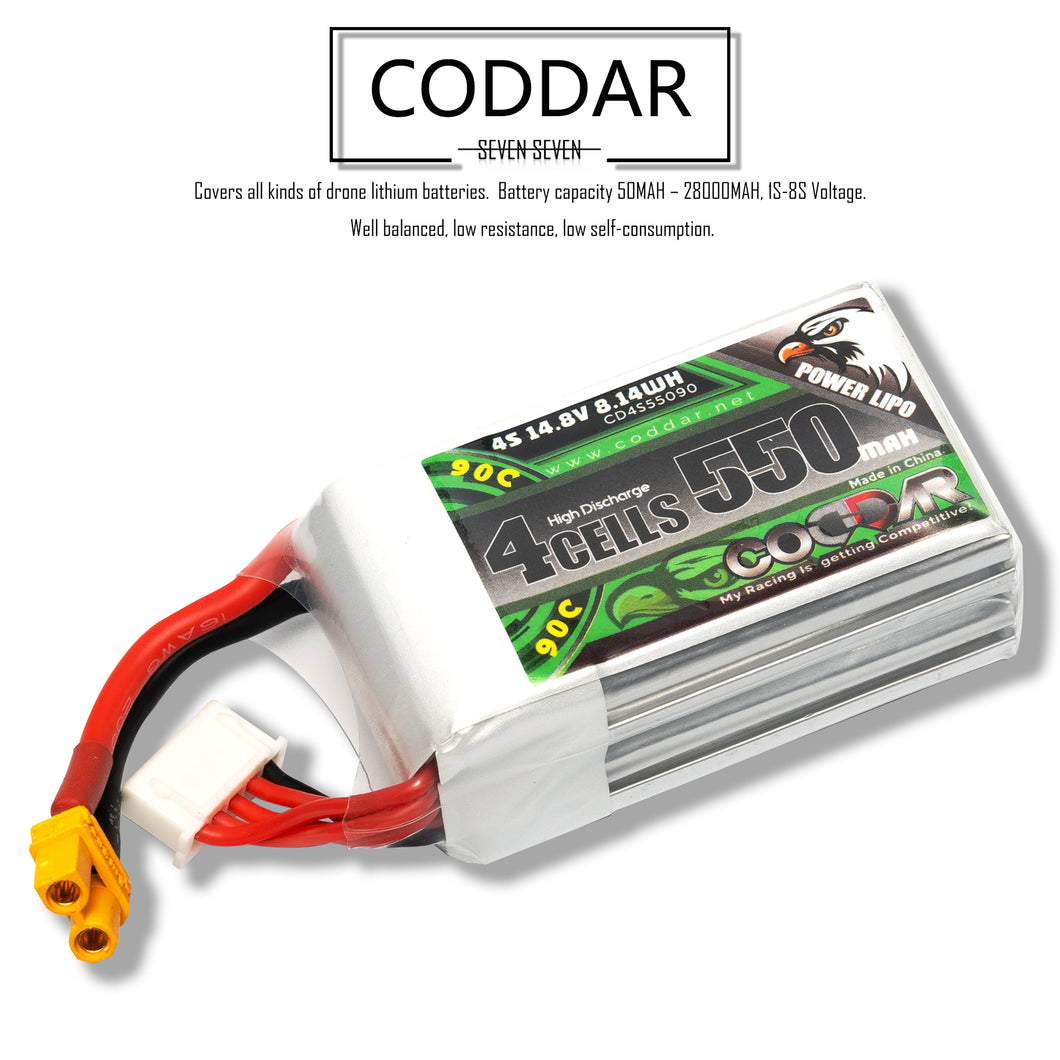 2 Pack - Coddar 550mAh 4s 14.8v 90c Lipo Battery with XT30 FPV plug for RC Racing Drone