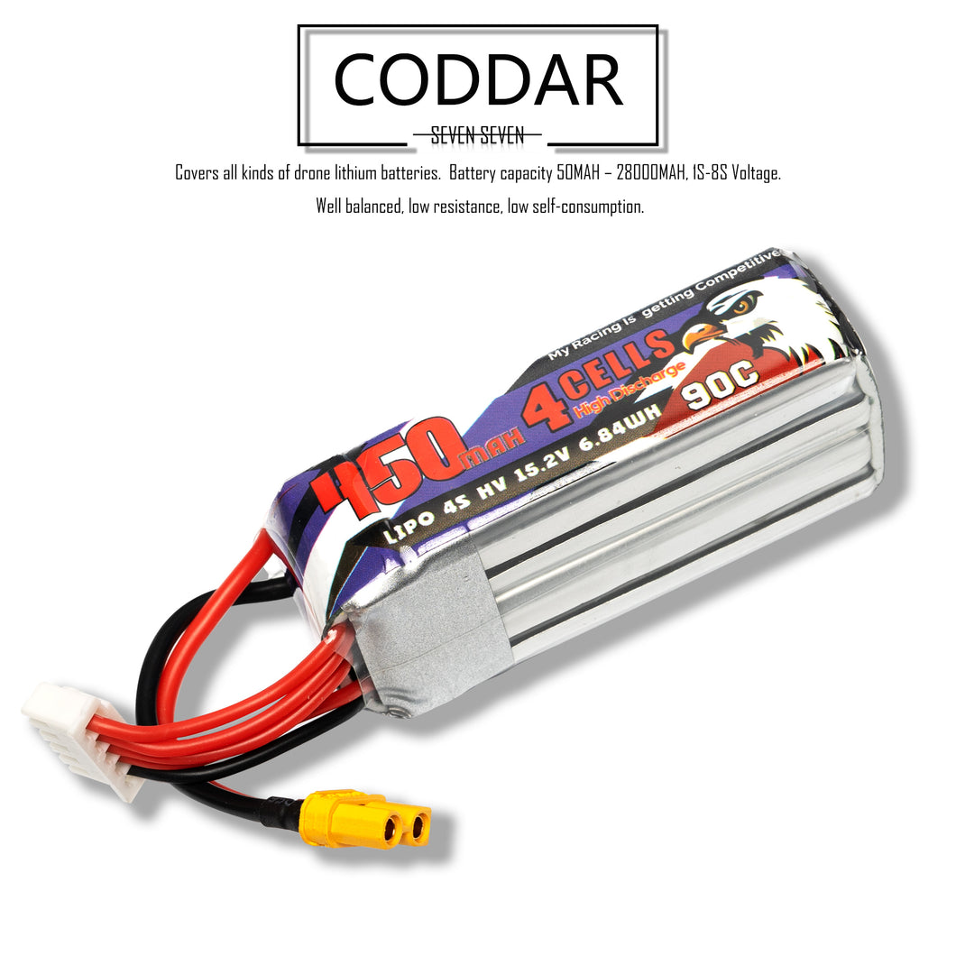 Coddar 450mAh 4s 15.2v 90c Lipo Battery with XT30 FPV plug for RC Racing Drone