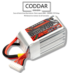 2 Pack - Coddar 750mAh 6s 14.8v 90c Lipo Battery with XT30  FPV plug for RC Racing Drone