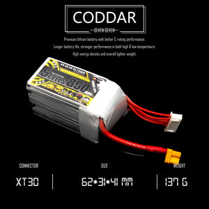 Coddar 850mAh 5s 18.5v 90c Lipo Battery with XT30 FPV plug for RC Racing Drone
