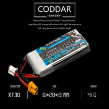Load image into Gallery viewer, 2 Pack - Coddar 650mAh 2s 7.4v 90c Lipo Battery with XT30  FPV plug for RC Racing Drone