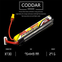 Load image into Gallery viewer, 2 Pack - Coddar 350mAh 3s 11.4v 50c Lipo Battery with XT30 FPV plug for RC Racing Drone