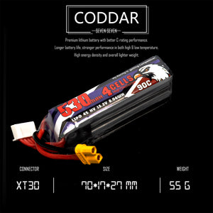 Coddar 530mAh 4s 15.2v 90c Lipo Battery with XT30 FPV plug for RC Racing Drone