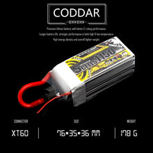 Load image into Gallery viewer, Coddar 1150mAh 5s 18.5v 130c Lipo Battery with XT60  FPV plug for RC Racing Drone