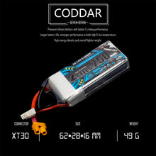 Load image into Gallery viewer, 2 Pack - Coddar 750mAh 2s 7.4v 90c Lipo Battery with XT30 FPV plug for RC Racing Drone
