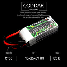 Load image into Gallery viewer, Coddar 1050mAh 4s 14.8v 120c Lipo Battery with XT60  FPV plug for RC Racing Drone