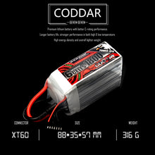 Load image into Gallery viewer, Coddar 1800mAh 6s 22.2v 130c Lipo Battery with XT60 FPV plug for RC Racing Drone
