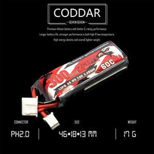 Coddar 300mah 2s 7.6v 60c Lipo Battery with PH2.0 FPV plug for RC Racing Drone - 2 Pack