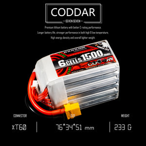 Coddar 1500mAh 6s 22.2v 110c Lipo Battery with XT60 FPV Plug for RC Racing Drone - 2 Pack
