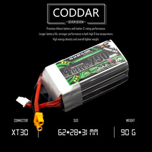 Coddar 750mAh 4s 14.8v 90c Lipo Battery with XT30  FPV plug for RC Racing Drone