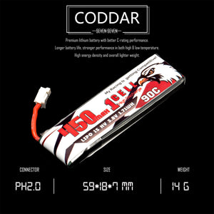 4 Pack - Coddar 450mAh 1s 3.8v 90c Lipo Battery with PH2.0 FPV plug for RC Racing Drone