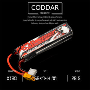2 Pack - Coddar 530mAh 2s 7.6v 90c Lipo Battery with XT30 FPV plug for RC Racing Drone