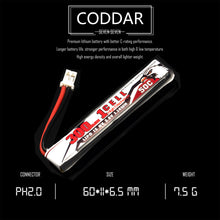 Load image into Gallery viewer, Coddar 300mAh 1s 3.8v 50c Lipo Battery with PH2.0 FPV plug for RC Racing Drone - 8 Pack