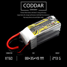 Load image into Gallery viewer, Coddar 1800mAh 5s 18.5v 130c Lipo Battery with XT60 FPV plug for RC Racing Drone