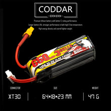 Load image into Gallery viewer, 2 Pack - Coddar 650mAh 3s 11.4v 60c Lipo Battery with XT30  FPV plug for RC Racing Drone