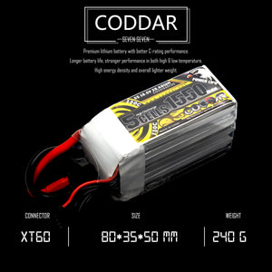 Coddar 1550mAh 5s 18.5v 130c Lipo Battery with XT60  FPV plug for RC Racing Drone
