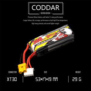 2 pack - Coddar 300mAh 3s 11.4v 90c Lipo Battery with XT30 FPV plug for RC Racing Drone