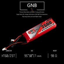 Load image into Gallery viewer, GNB 2500mAh 2s 7.4v LiPo Battery for Taranis X9D 2019 - XT60 & JST-XH
