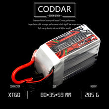 Load image into Gallery viewer, Coddar 1550mAh 6s 22.2v 130c Lipo Battery with XT60  FPV plug for RC Racing Drone