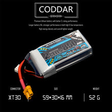 Load image into Gallery viewer, 2 Pack - Coddar 850mAh 2s 7.4v 90c Lipo Battery with XT30 FPV plug for RC Racing Drone