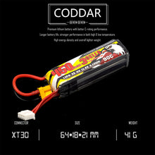 Load image into Gallery viewer, 2 Pack - Coddar 450mAh 3s 11.4v 90c Lipo Battery with XT30 FPV plug for RC Racing Drone