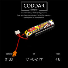 Load image into Gallery viewer, 2 Pack - Coddar 530mAh 3s 11.4v 90c Lipo Battery with XT30 FPV plug for RC Racing Drone