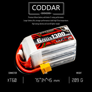 2 Pack - Coddar 1300mAh 6s 22.2v 110c Lipo Battery with XT60 FPV Plug for RC Racing Drone
