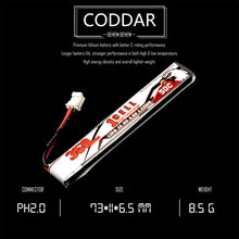 Load image into Gallery viewer, 8 Pack - Coddar 350mAh 1s 3.8v 50c Lipo Battery with PH2.0 FPV plug for RC Racing Drone
