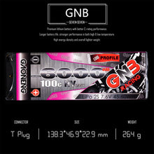 Load image into Gallery viewer, 2 Pack - GNB 6000mAh 2s 7.6v 100c Lipo Battery with T plug for RC Racing Car and Boat