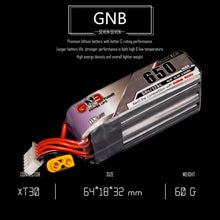 Load image into Gallery viewer, 2 Pack - GNB 650mAh 4s 15.2v 60c Lipo Battery with XT30 FPV Plug for RC Racing Drone