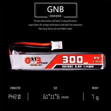 Load image into Gallery viewer, 8 Pack - GNB 300mAh 1s 3.8v 30c Lipo Battery with PH2.0  FPV plug for RC Racing Drone