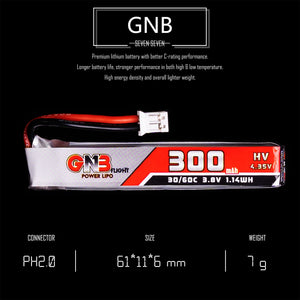 8 Pack - GNB 300mAh 1s 3.8v 30c Lipo Battery with PH2.0  FPV plug for RC Racing Drone