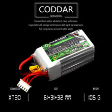 Load image into Gallery viewer, Coddar 850mAh 4s 14.8v 90c Lipo Battery with XT30 FPV plug for RC Racing Drone - 2 Pack