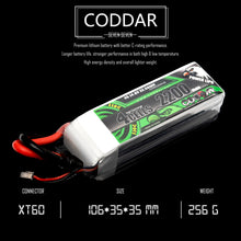 Load image into Gallery viewer, Coddar 2200mAh 4s 14.8v 120c Lipo Battery with XT60 FPV plug for RC Racing Drone