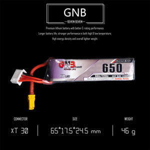 GNB 650mAh 3s 11.4v 60c Lipo Battery with XT30  FPV plug for RC Racing Drone - 2 Pack