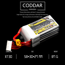 Load image into Gallery viewer, Coddar 550mAh 5s 18.5v 90c Lipo Battery with XT30 FPV plug for RC Racing Drone